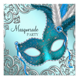 Teal Blue Silver Mask Masquerade Party Invites