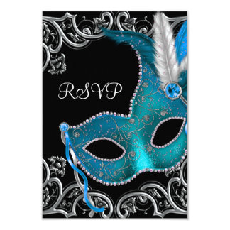 Teal Blue Silver Mask Masquerade Party RSVP Custom Announcements