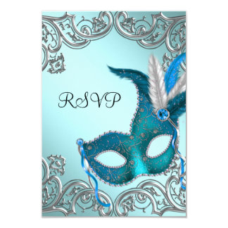 Teal Blue Silver Mask Masquerade Party RSVP 3.5x5 Paper Invitation Card