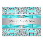 Teal Blue Silver Save The Date Postcard