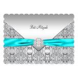 Teal Blue Silver Teal Bat Mitzvah 13 Cm X 18 Cm Invitation Card