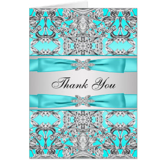 Teal Blue Silver Thank You Note Card