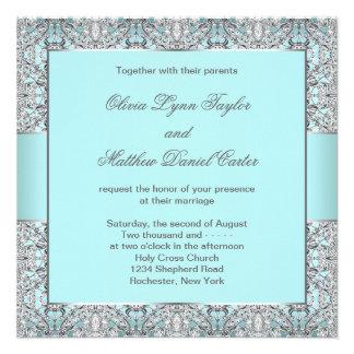 Teal Blue Silver Wedding Invitation