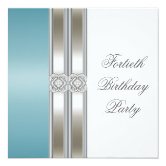 Teal Blue Silver White Classy 40th Birthday Party 13 Cm X 13 Cm Square Invitation Card