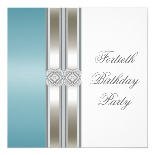 Teal Blue Silver White Classy 40th Birthday Party Invite