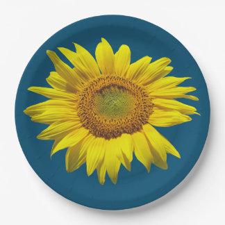 Teal Blue Single Sunflower Paper Plate