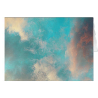 Teal Blue Sky Clouds Note Card