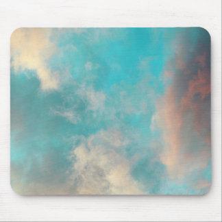 Teal Blue Sky Clouds Mousepad