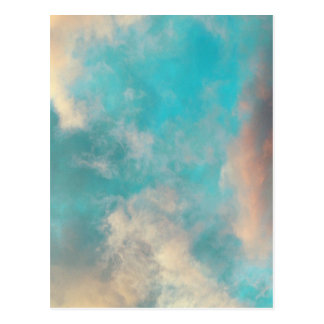Teal Blue Sky Clouds Postcard