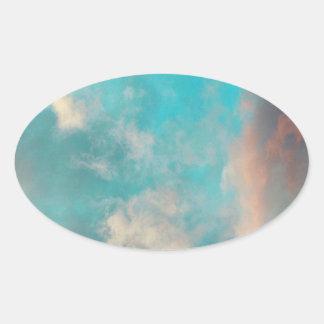 Teal Blue Sky Clouds Oval Sticker