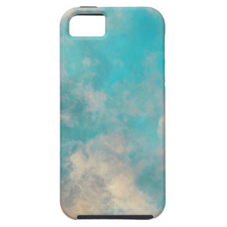 Teal Blue Sky Clouds Tough iPhone 5 Case