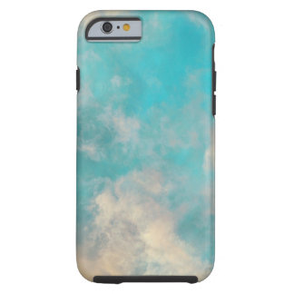 Teal Blue Sky Clouds Tough iPhone 6 Case
