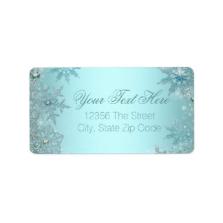 Teal Blue Snowflake Address Label