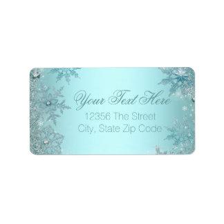 Teal Blue Snowflake Label