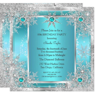 Teal Blue Snowflake Silver Winter Wonderland Card