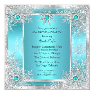 Teal Blue Snowflake Silver Winter Wonderland Card