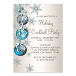 Teal Blue Snowflakes Ornaments Christmas Party Custom Announcement