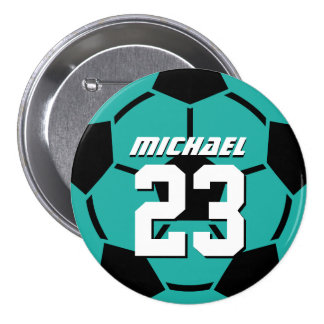 Teal Blue Soccer Ball Sports Team Button Pin