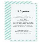 Teal Blue Striped Wedding Information Insert Card