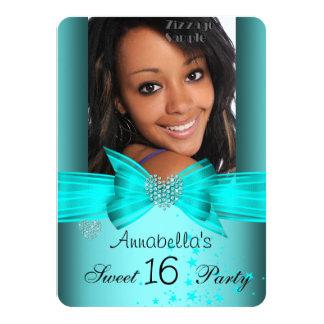 Teal Blue Sweet 16 Birthday Party Diamond Photo 2 Custom Invites