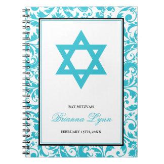 Teal Blue Swirl Damask Bat Mitzvah Guest Book