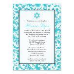 Teal Blue Swirl Damask Bat Mitzvah Invitations 13 Cm X 18 Cm Invitation Card