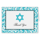 Teal Blue Swirl Damask Star of David Thank You Card