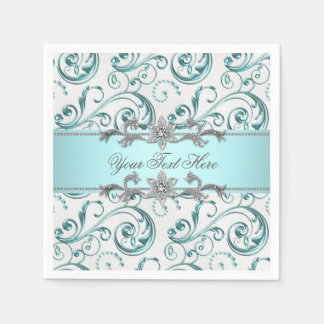 Teal Blue Swirl Paper Napkins