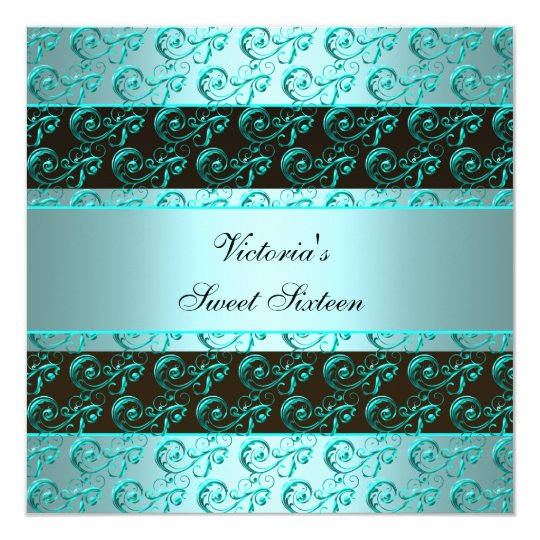 Teal Blue Swirls Elegant Sweet Sixteen Card