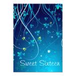 Teal Blue Swirls Sweet Sixteen Party 13 Cm X 18 Cm Invitation Card