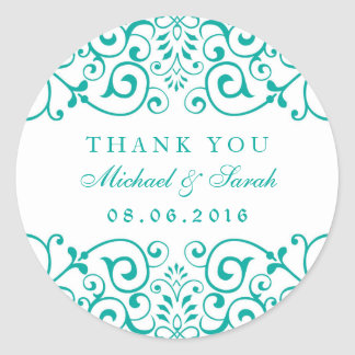 Teal Blue Swirly Floral Baby Shower Sticker