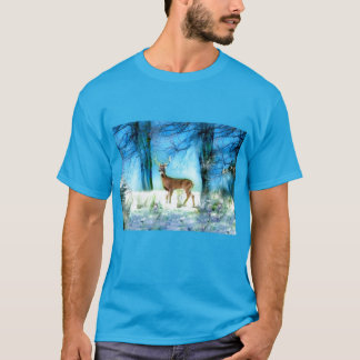 Teal Blue T-Shirt with Lovely Deer in Snowy Forest