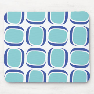 Teal Blue Tilted Box Pattern Mouse Pad