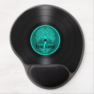 Teal Blue Tree of Life Personalized Vinyl Record Gel Mouse Pad