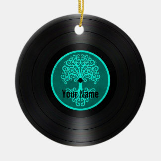 Teal Blue Tree of Life Personalized Vinyl Record Round Ceramic Decoration
