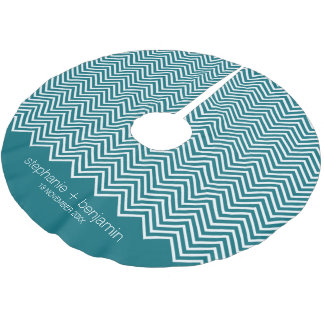 Teal Blue Trendy Chevron Pattern Wedding Favor Brushed Polyester Tree Skirt