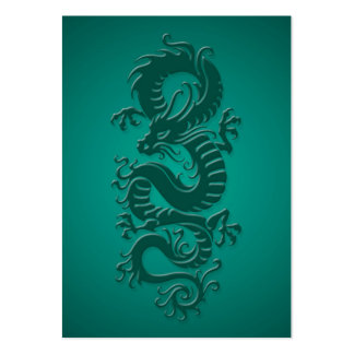 Teal Blue Tribal Chinese Dragon Business Card