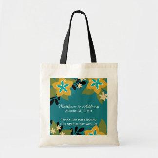 Teal Blue Tropical Floral Wedding Tote Budget Tote Bag