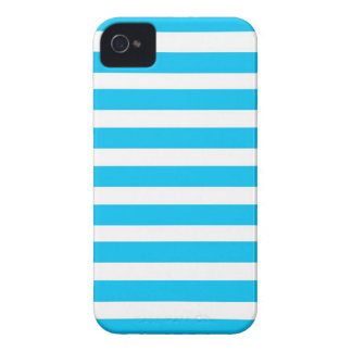 Teal Blue Turquoise and White Stripes Pattern iPhone 4 Covers