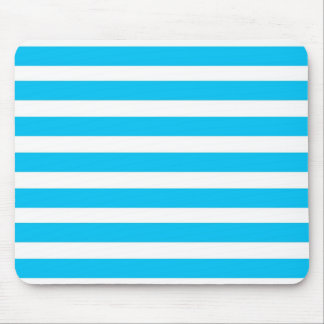 Teal Blue Turquoise and White Stripes Pattern Mouse Pad