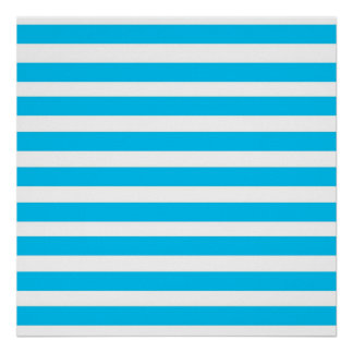 Teal Blue Turquoise and White Stripes Pattern Poster
