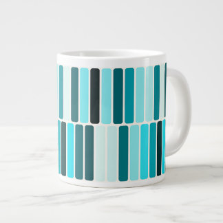 Teal Blue Turquoise Retro Abstract Stripes Pattern Large Coffee Mug