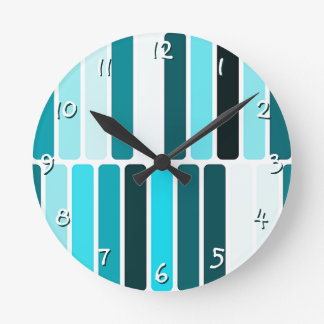 Teal Blue Turquoise Retro Abstract Stripes Pattern Round Clock