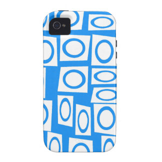 Teal Blue Turquoise White Circle Square Pattern Case For The iPhone 4