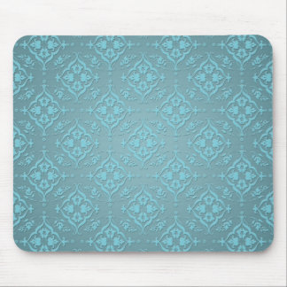 Teal Blue Two Tone Damask Pattern Mouse Pad