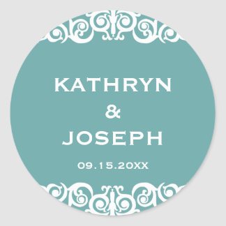 Teal blue Victorian scroll wedding favour label Round Stickers