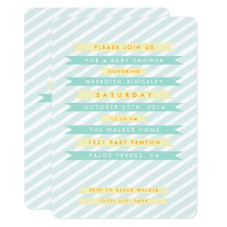 Teal Blue Vintage Banners Baby Shower Invitations