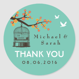 Teal Blue Vintage Bird Cage Floral Wedding Sticker