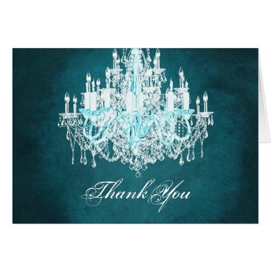 Teal Blue Vintage Chandelier Thank You Cards
