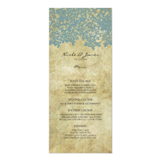 Teal Blue Vintage Country Wedding Menu Card